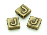 Brass Pewter Bead - J - Square 10mm (PB628)