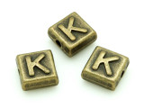 Brass Pewter Bead - K - Square 10mm (PB629)