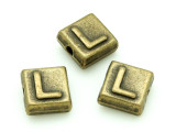 Brass Pewter Bead - L - Square 10mm (PB630)