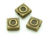 Brass Pewter - O - Square Bead 10mm (PB633)
