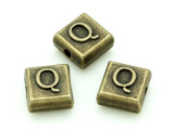 Brass Pewter Bead - Q - Square 10mm (PB635)