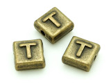 Brass Pewter Bead - T - Square 10mm (PB638)