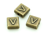 Brass Pewter Bead - V - Square 10mm (PB640)