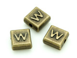 Brass Pewter Bead - W - Square 10mm (PB641)
