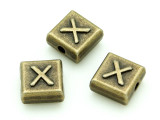 Brass Pewter Bead - X - Square 10mm (PB642)