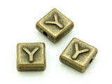 Brass Pewter Bead - Y - Square 10mm (PB643)
