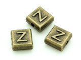 Brass Pewter Bead - Z - Square 10mm (PB644)