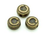 Brass Pewter Bead - C - Round 10mm (PB647)