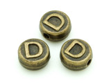 Brass Pewter Bead - D - Round 10mm (PB648)