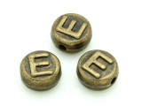 Brass Pewter Bead - E - Round 10mm (PB649)