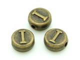 Brass Pewter Bead - I - Round 10mm (PB651)