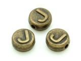 Brass Pewter Bead - J - Round 10mm (PB652)