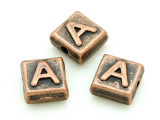 Copper Pewter Bead - A - Square 10mm (PB663)