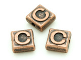 Copper Pewter Bead - C - Square 10mm (PB664)