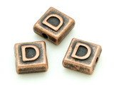 Copper Pewter Bead - D - Square 10mm (PB665)
