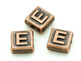 Copper Pewter Bead - E - Square 10mm (PB666)