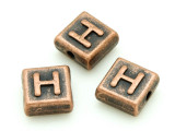 Copper Pewter Bead - H - Square 10mm (PB667)