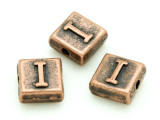 Copper Pewter Bead - I - Square 10mm (PB668)