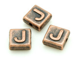 Copper Pewter Bead - J - Square 10mm (PB669)