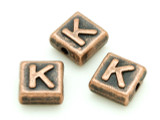 Copper Pewter Bead - K - Square 10mm (PB670)