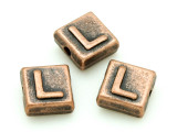 Copper Pewter Bead - L - Square 10mm (PB671)