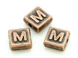Copper Pewter Bead - M - Square 10mm (PB672)