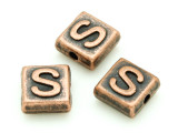 Copper Pewter Bead - S - Square 10mm (PB675)
