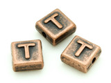 Copper Pewter Bead - T - Square 10mm (PB676)