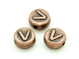 Copper Pewter Bead - V - Round 10mm (PB681)