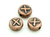 Copper Pewter Bead - X - Round 10mm (PB683)