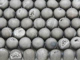 Silver Electroplated Agate w/Druzy Round Gemstone Beads 10mm (GS3766)