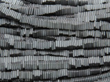 Gunmetal Silver Electroplated Hematite Square Heishi Gemstone Beads 4mm (GS3807)