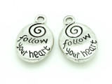Follow Your Heart - Pewter Charm 20mm (PW1157)