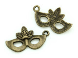 Brass Mardi Gras Mask - Pewter Charm 26mm (PW1168)