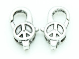 Pewter Peace Lobster Clasp 28mm (PB724)