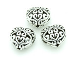 Pewter Bead - Ornate Heart 13mm (PB759)