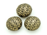 Brass Pewter Bead - Spotted Coin 18mm (PB788)