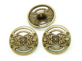 Brass Pewter Bead - Floral Button 17mm (PB792)