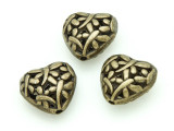 Brass Pewter Bead - Heart w/Dragonflies 15mm (PB793)