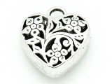 Floral Heart - Pewter Pendant 23mm (PW784)