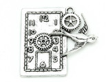 Bird & Clock Steampunk - Pewter Pendant 40mm (PW790)