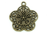 Brass Ornate Flower - Pewter Pendant 30mm (PW824)