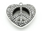 Heart w/Peace Sign - Pewter Pendant 48mm (PW837)