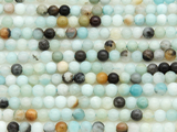 Black Gold Amazonite Round Gemstone Beads 4mm (GS3839)