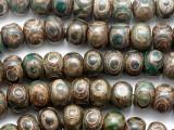 Green Tibetan Agate Rondelle Gemstone Beads 14mm (GS3849)