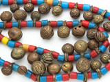Yoruba Brass Bells w/Glass Trade Beads 16-21mm - Nigeria (AT7163)