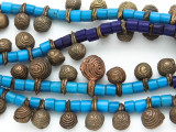 Yoruba Brass Bells w/Glass Trade Beads 14-24mm - Nigeria (AT7165)