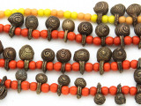 Yoruba Brass Bells w/Glass Trade Beads 12-22mm - Nigeria (AT7170)