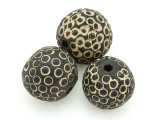Carved Round Clay Bead 22-27mm - Mali (CL185)