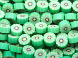 Green w/Yellow Flower Polymer Clay Round Beads 10mm (CL211)